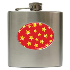 Yellow Stars Red Background Pattern Hip Flask (6 Oz)
