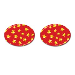 Yellow Stars Red Background Pattern Cufflinks (oval) by Sapixe