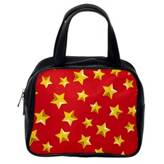Yellow Stars Red Background Pattern Classic Handbags (one Side) by Sapixe