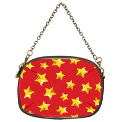 Yellow Stars Red Background Pattern Chain Purses (two Sides)  by Sapixe