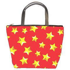 Yellow Stars Red Background Pattern Bucket Bags by Sapixe