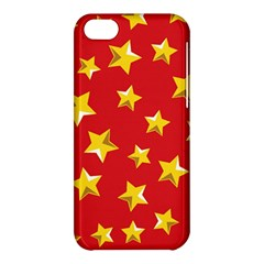 Yellow Stars Red Background Pattern Apple Iphone 5c Hardshell Case by Sapixe