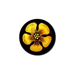 Yellow Flower Stained Glass Colorful Glass Golf Ball Marker