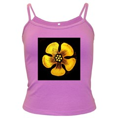 Yellow Flower Stained Glass Colorful Glass Dark Spaghetti Tank by Sapixe