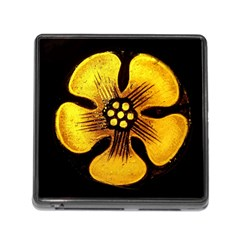 Yellow Flower Stained Glass Colorful Glass Memory Card Reader (square) by Sapixe