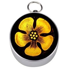 Yellow Flower Stained Glass Colorful Glass Silver Compasses by Sapixe