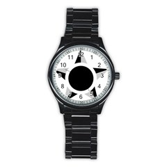 Roundel Of Brazilian Air Force (low Visibility) Stainless Steel Round Watch