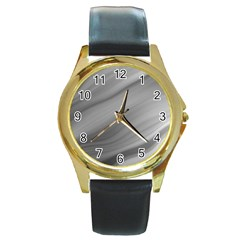 Wave Form Texture Background Round Gold Metal Watch