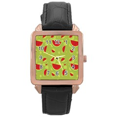 Watermelon Fruit Patterns Rose Gold Leather Watch  by Sapixe
