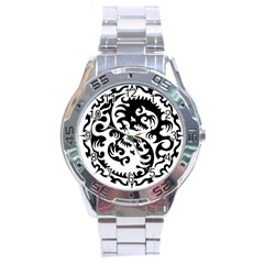 Ying Yang Tattoo Stainless Steel Analogue Watch by Sapixe