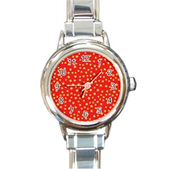 Yellow Stars Red Background Round Italian Charm Watch by Sapixe