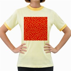 Yellow Stars Red Background Women s Fitted Ringer T Shirts