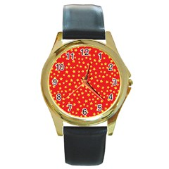 Yellow Stars Red Background Round Gold Metal Watch by Sapixe