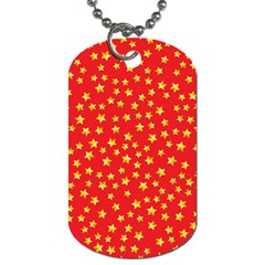 Yellow Stars Red Background Dog Tag (two Sides) by Sapixe