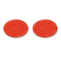 Yellow Stars Red Background Cufflinks (oval) by Sapixe