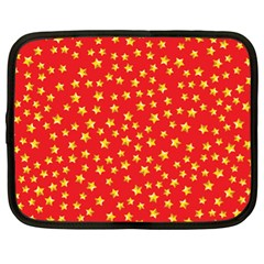 Yellow Stars Red Background Netbook Case (xl)