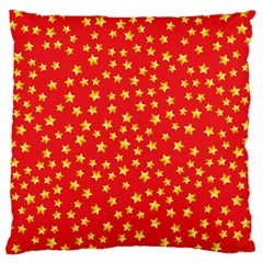 Yellow Stars Red Background Large Cushion Case (two Sides)