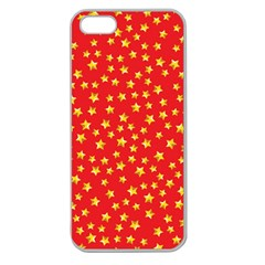 Yellow Stars Red Background Apple Seamless Iphone 5 Case (clear)