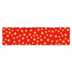 Yellow Stars Red Background Satin Scarf (oblong) by Sapixe