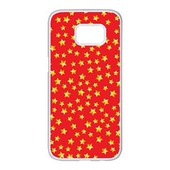 Yellow Stars Red Background Samsung Galaxy S7 Edge White Seamless Case by Sapixe