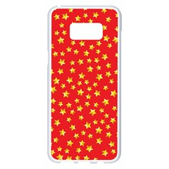 Yellow Stars Red Background Samsung Galaxy S8 Plus White Seamless Case