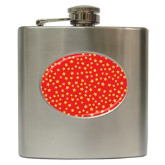 Yellow Stars Red Background Hip Flask (6 Oz)