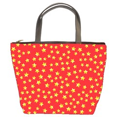 Yellow Stars Red Background Bucket Bags by Sapixe