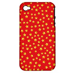 Yellow Stars Red Background Apple Iphone 4/4s Hardshell Case (pc+silicone) by Sapixe