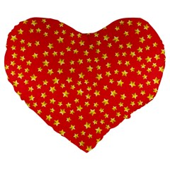 Yellow Stars Red Background Large 19  Premium Heart Shape Cushions by Sapixe
