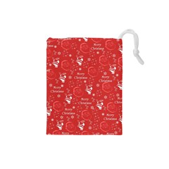 Santa Christmas Collage Drawstring Pouches (small)  by Sapixe