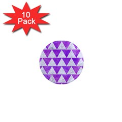Triangle2 White Marble & Purple Watercolor 1  Mini Magnet (10 Pack)