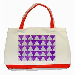 Triangle2 White Marble & Purple Watercolor Classic Tote Bag (red) by trendistuff