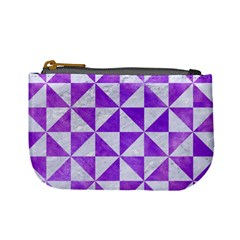 Triangle1 White Marble & Purple Watercolor Mini Coin Purses by trendistuff
