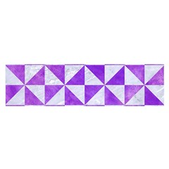 Triangle1 White Marble & Purple Watercolor Satin Scarf (oblong) by trendistuff