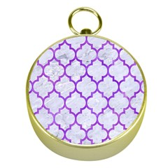 Tile1 White Marble & Purple Watercolor (r) Gold Compasses by trendistuff