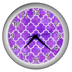 Tile1 White Marble & Purple Watercolor Wall Clocks (silver)  by trendistuff