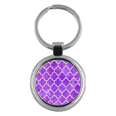 Tile1 White Marble & Purple Watercolor Key Chains (round)  by trendistuff