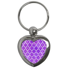 Tile1 White Marble & Purple Watercolor Key Chains (heart)