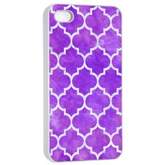 Tile1 White Marble & Purple Watercolor Apple Iphone 4/4s Seamless Case (white) by trendistuff