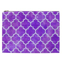 Tile1 White Marble & Purple Watercolor Cosmetic Bag (xxl)  by trendistuff