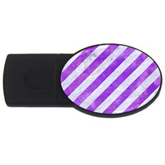 Stripes3 White Marble & Purple Watercolor (r) Usb Flash Drive Oval (4 Gb) by trendistuff