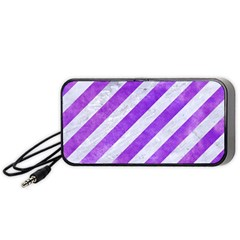 Stripes3 White Marble & Purple Watercolor (r) Portable Speaker by trendistuff