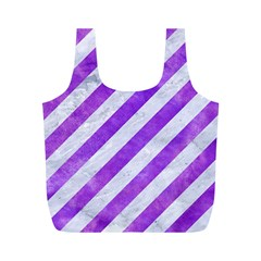 Stripes3 White Marble & Purple Watercolor (r) Full Print Recycle Bags (m)  by trendistuff