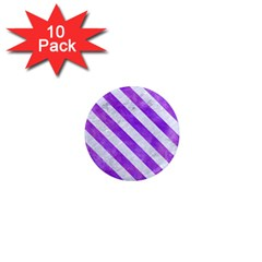 Stripes3 White Marble & Purple Watercolor 1  Mini Magnet (10 Pack)