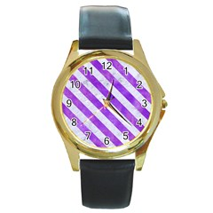Stripes3 White Marble & Purple Watercolor Round Gold Metal Watch by trendistuff