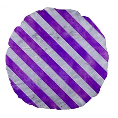 Stripes3 White Marble & Purple Watercolor Large 18  Premium Flano Round Cushions by trendistuff