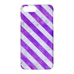 Stripes3 White Marble & Purple Watercolor Apple Iphone 8 Plus Hardshell Case by trendistuff