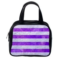 Stripes2white Marble & Purple Watercolor Classic Handbags (one Side) by trendistuff