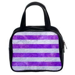 Stripes2white Marble & Purple Watercolor Classic Handbags (2 Sides)