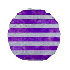 Stripes2white Marble & Purple Watercolor Standard 15  Premium Flano Round Cushions by trendistuff